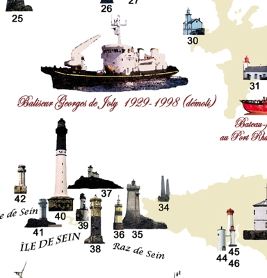 Détail de la carte du patrimoine des Phares et Balises du Finistère