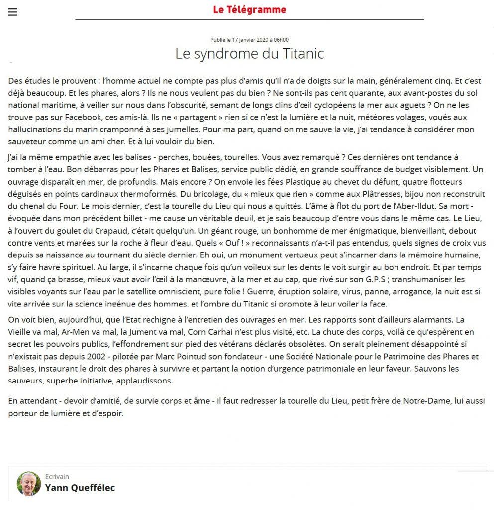 Article de Yann Queffélec